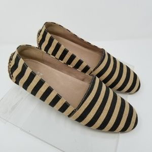 Eileen Fisher 8 1/2 Black Striped Canvas Loafers